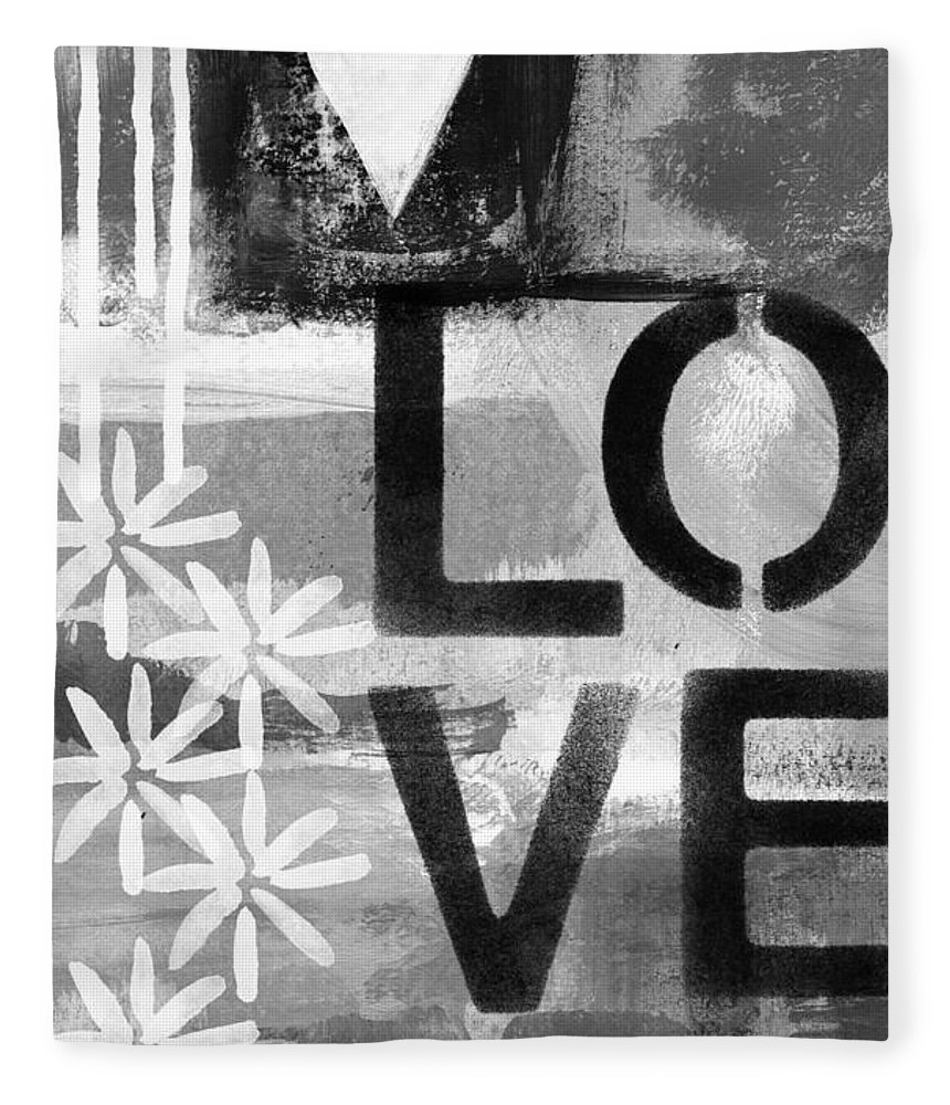 Love Fleece Blanket featuring the painting Love- Abstract Painting by Linda Woods