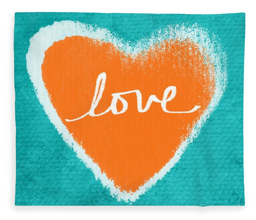 Heart Fleece Blanket featuring the mixed media Love by Linda Woods
