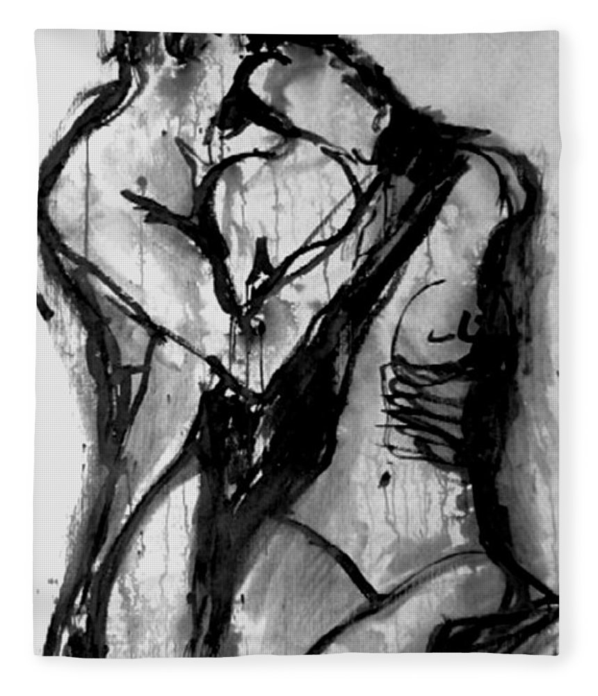Couple Fleece Blanket featuring the painting Love Me Tender by Jarmo Korhonen aka Jarko