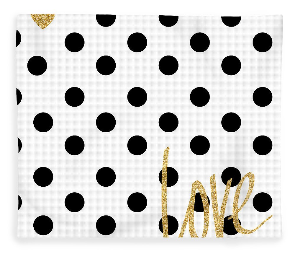 Love Fleece Blanket featuring the digital art Love With Dots by South Social Studio