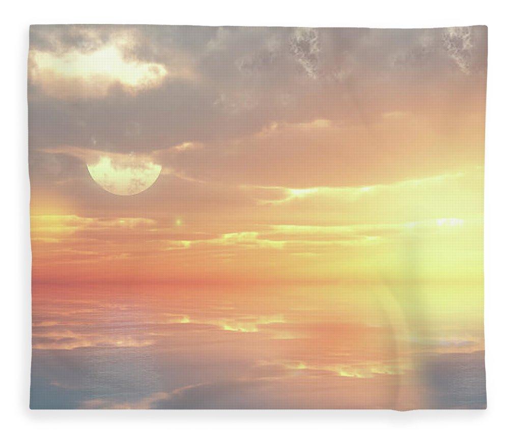 Sunset Fleece Blanket featuring the digital art Lovers Ocean by Georgiana Romanovna