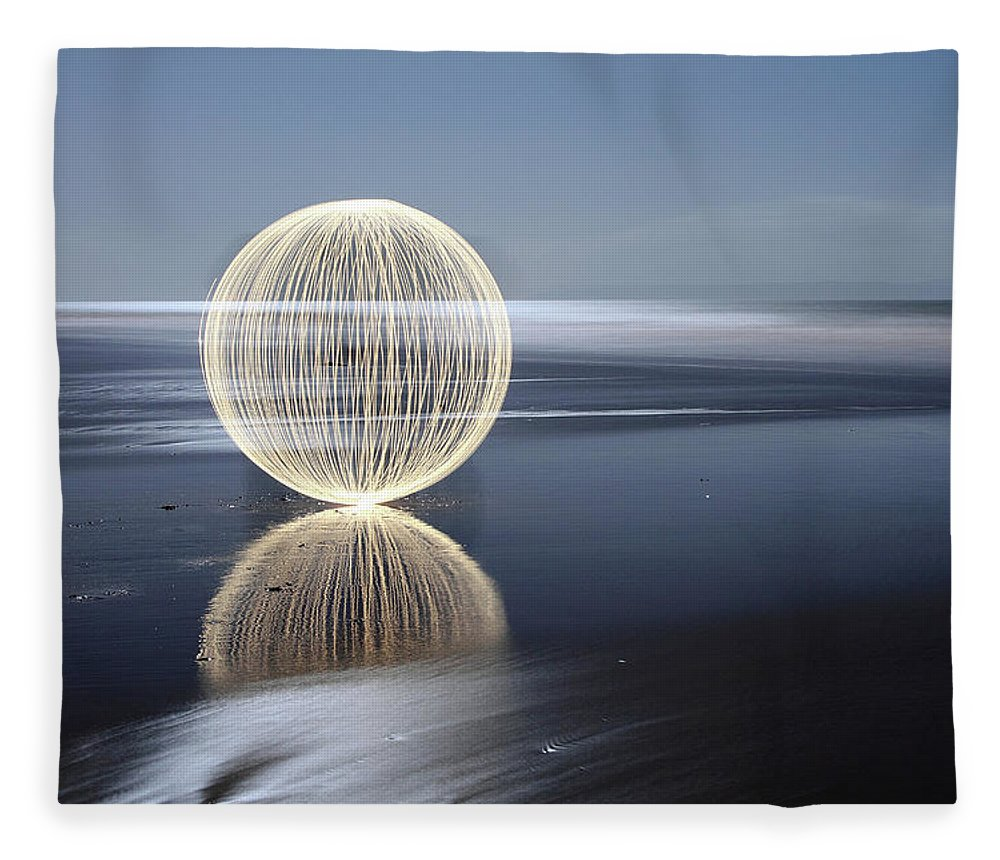 Light Painting Fleece Blanket featuring the photograph Low Tide Reflection by Andrew John Wells