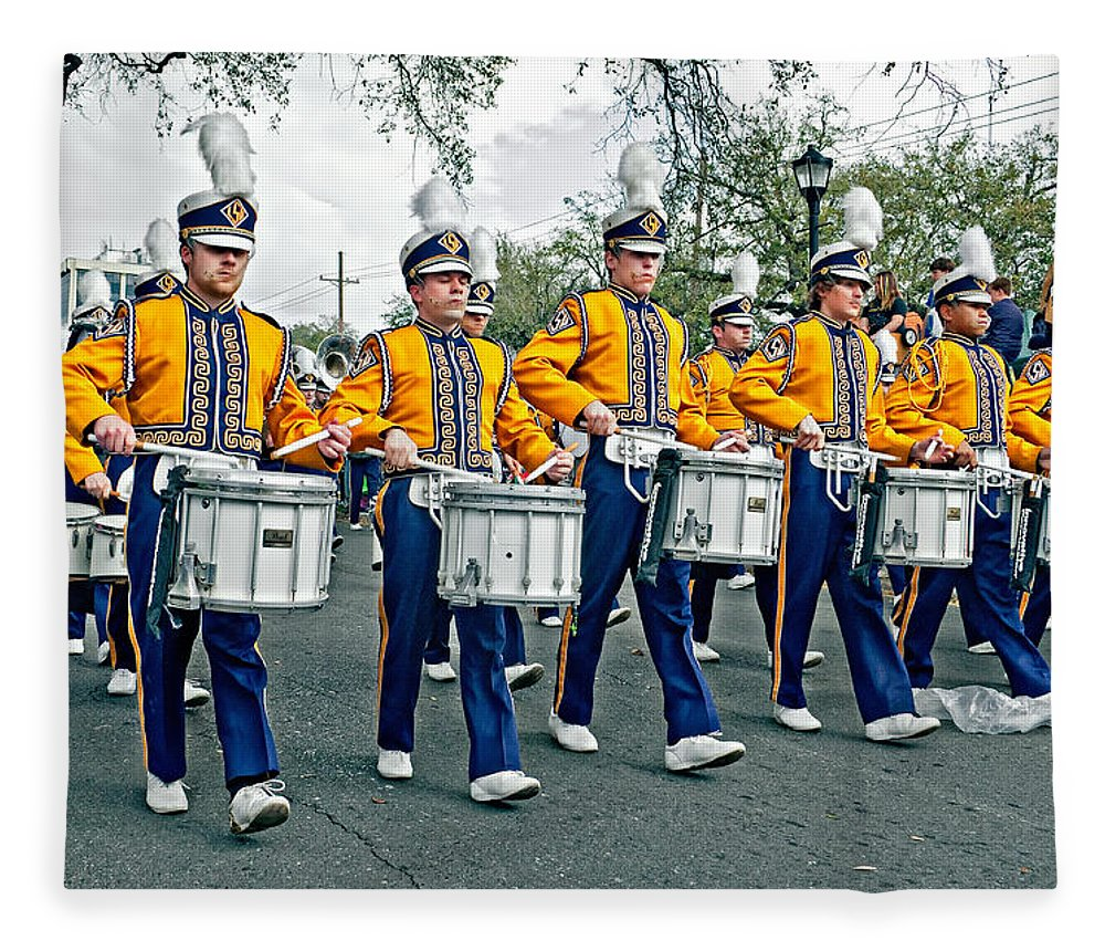 Lsu Fleece Blanket featuring the photograph Lsu Marching Band by Steve Harrington