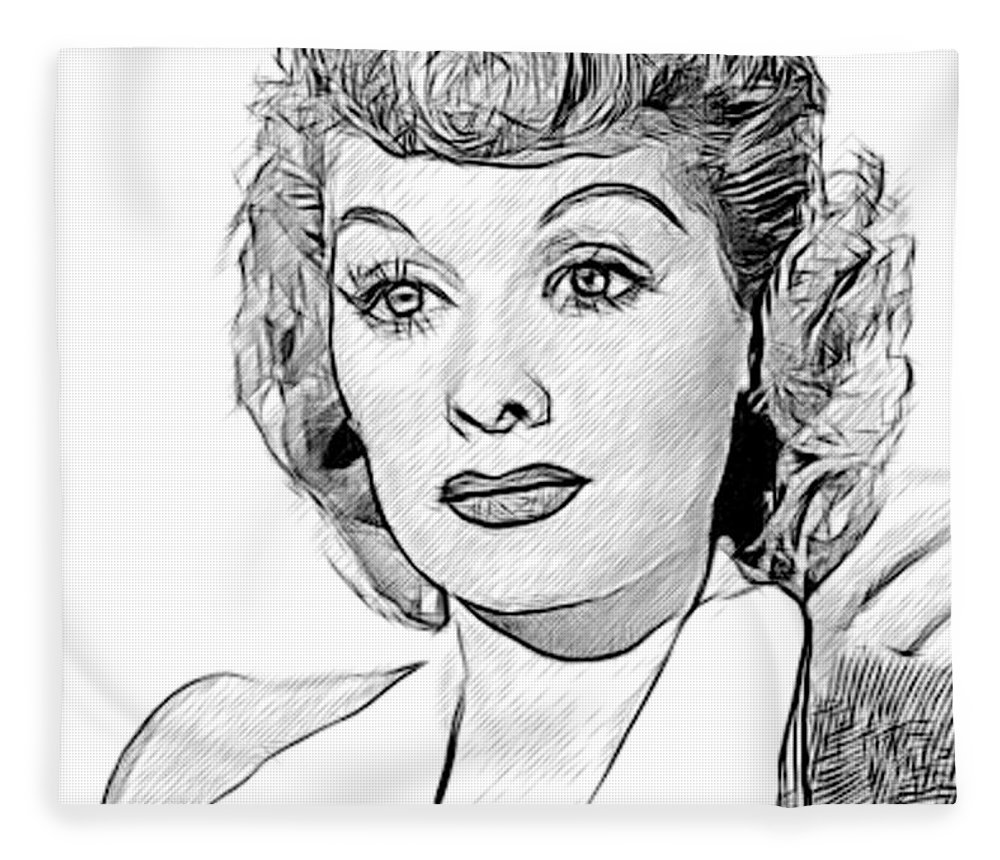 Celebrity Fleece Blanket featuring the drawing Lucille Ball 002 by Dean Wittle
