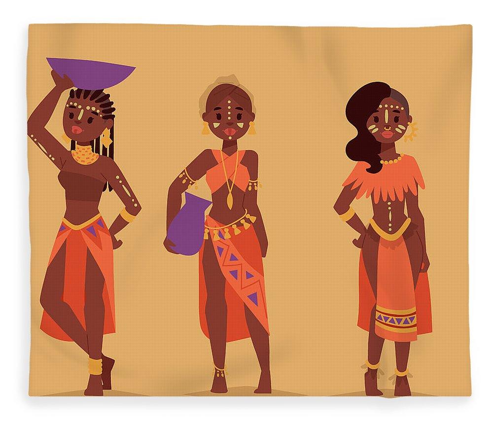 Kenya Fleece Blanket featuring the digital art Maasai African People In Traditional by Vectormoon