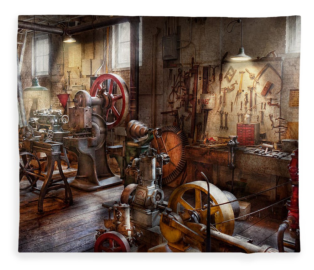 Machinist Fleece Blanket featuring the photograph Machinist - A Room Full Of Memories by Mike Savad