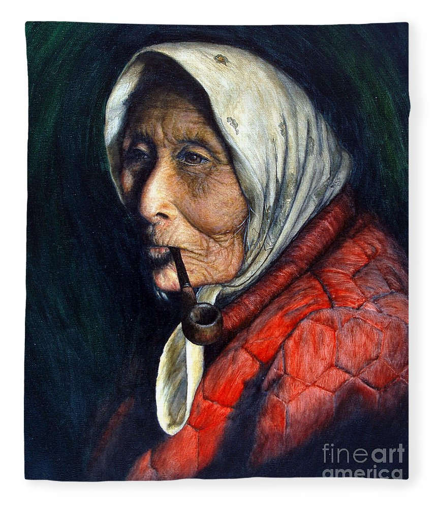 Native Fleece Blanket featuring the painting Maggie by Joey Nash
