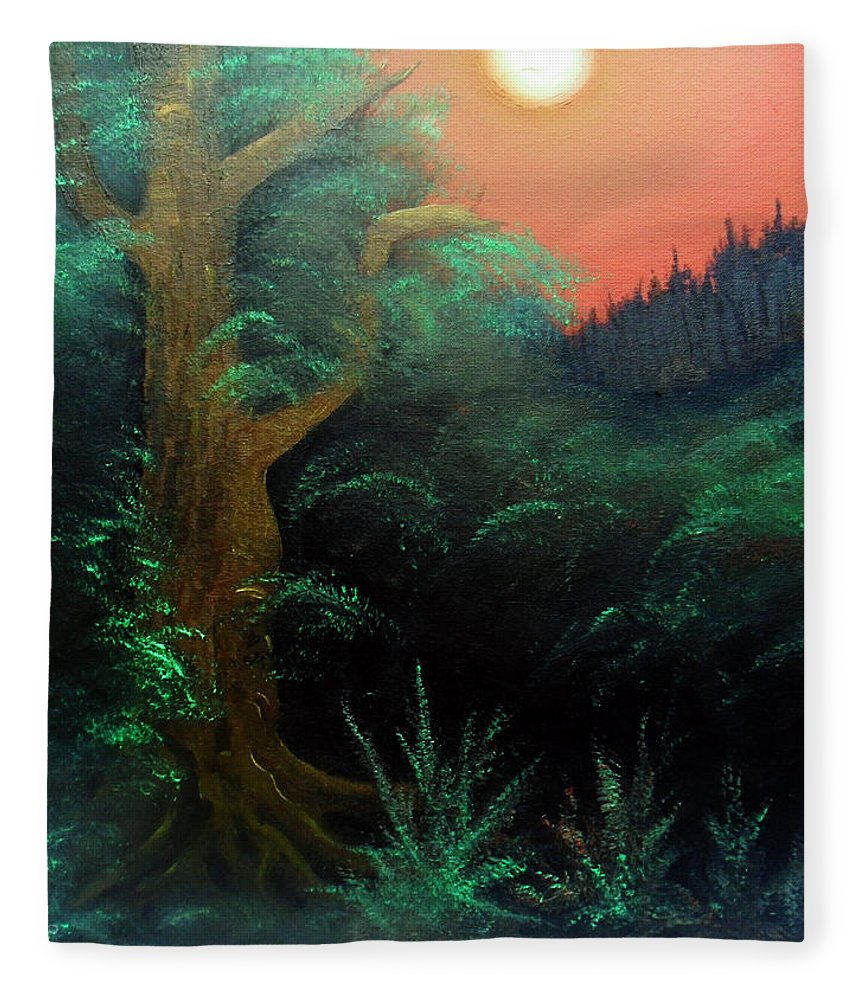 Landscape Fleece Blanket featuring the painting Magic forest by Sergey Bezhinets