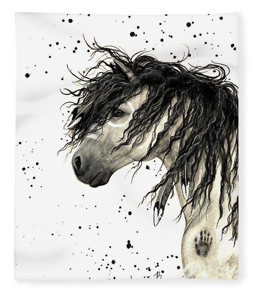 Mustang Horse Art Fleece Blanket featuring the painting Majestic Grey Spirit Horse #44 by AmyLyn Bihrle