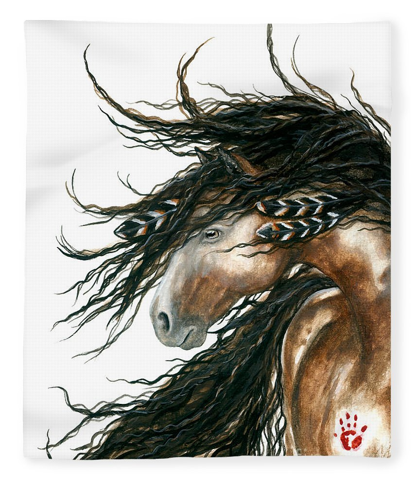 Horse Fleece Blanket featuring the painting Majestic Pinto Horse 80 by AmyLyn Bihrle