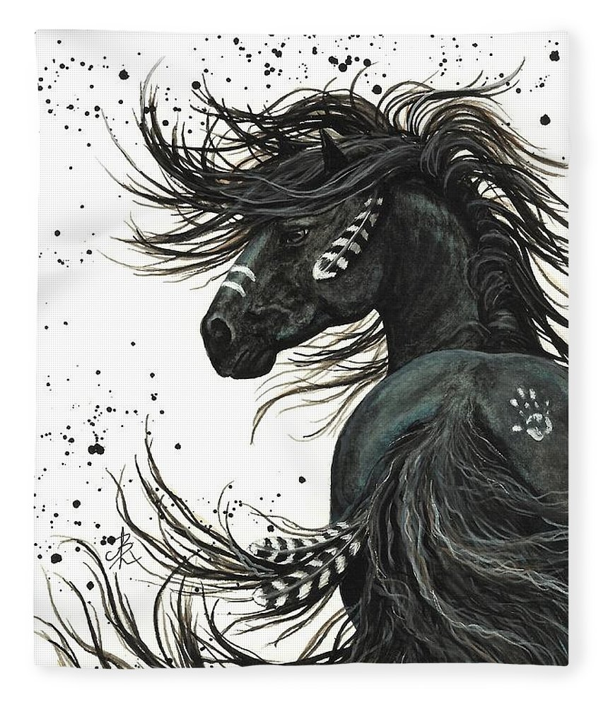 Mm65 Fleece Blanket featuring the painting Majestic Spirit Horse I by AmyLyn Bihrle