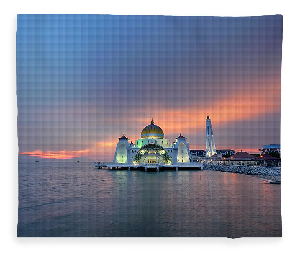 Mosque Fleece Blanket featuring the photograph Malaysia - The Straits Mosque, Malacca by By Toonman