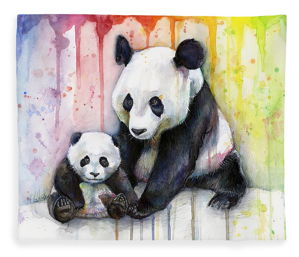 Watercolor Fleece Blanket featuring the painting Panda Watercolor Mom And Baby by Olga Shvartsur