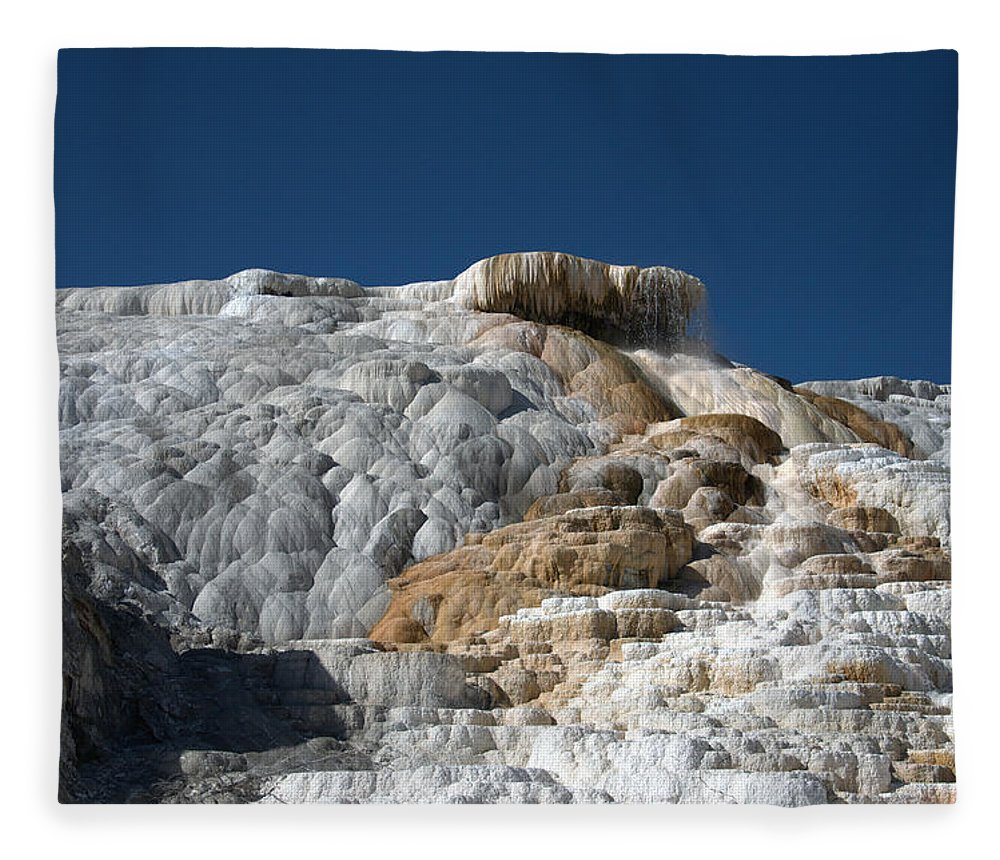 Blue Fleece Blanket featuring the photograph Mammoth Hot Springs 2 by Frank Madia
