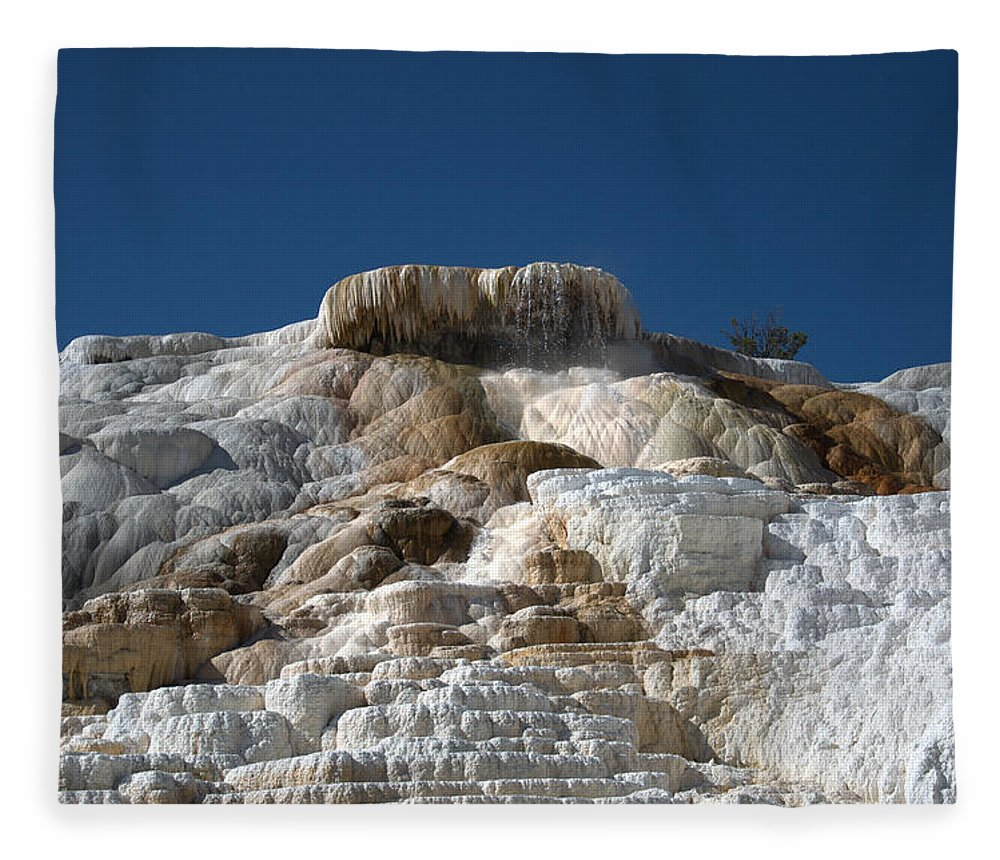 Blue Fleece Blanket featuring the photograph Mammoth Hotsprings 4 by Frank Madia