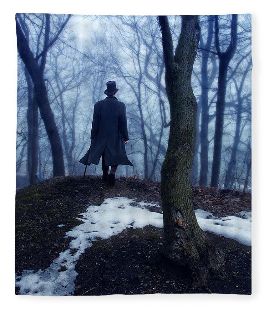 Man In Top Hat Walking Through Foggy Woods Fleece Blanket For Sale By Jill Battaglia