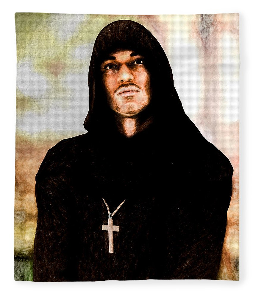 Priest Fleece Blanket featuring the painting Man Of Peace by Bob Orsillo