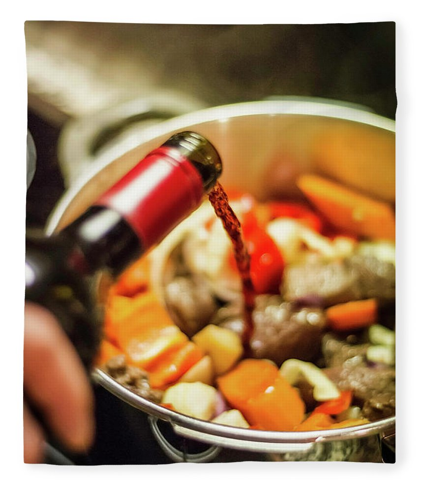 Mature Adult Fleece Blanket featuring the photograph Man Pouring Wine Into Vegetables by Manuel Sulzer