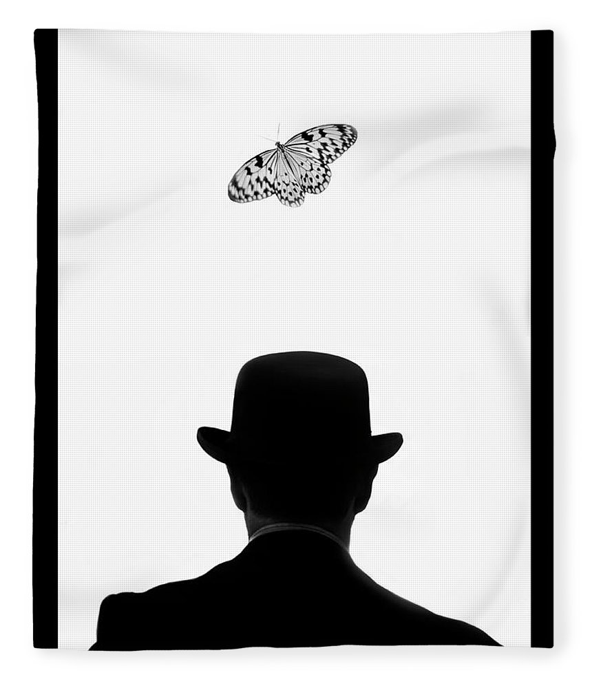 Mature Adult Fleece Blanket featuring the photograph Man Standing Under Butterfly by Grant Faint