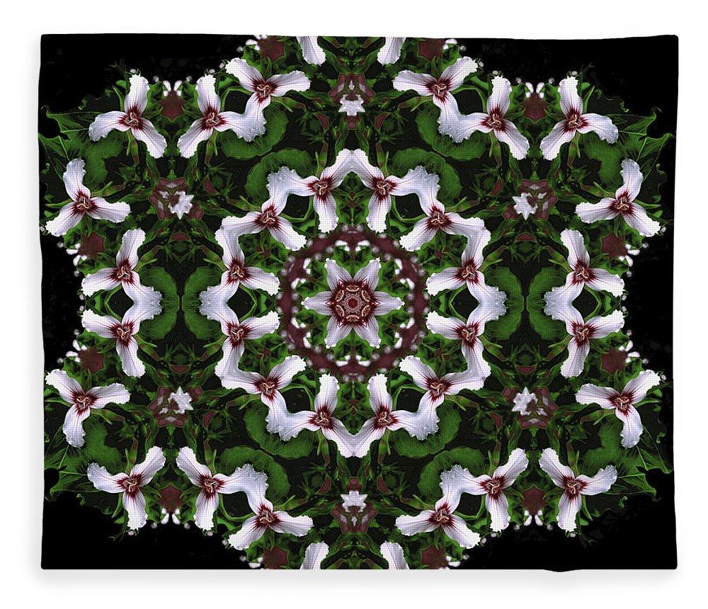 Mandala Fleece Blanket featuring the digital art Mandala Trillium Holiday by Nancy Griswold