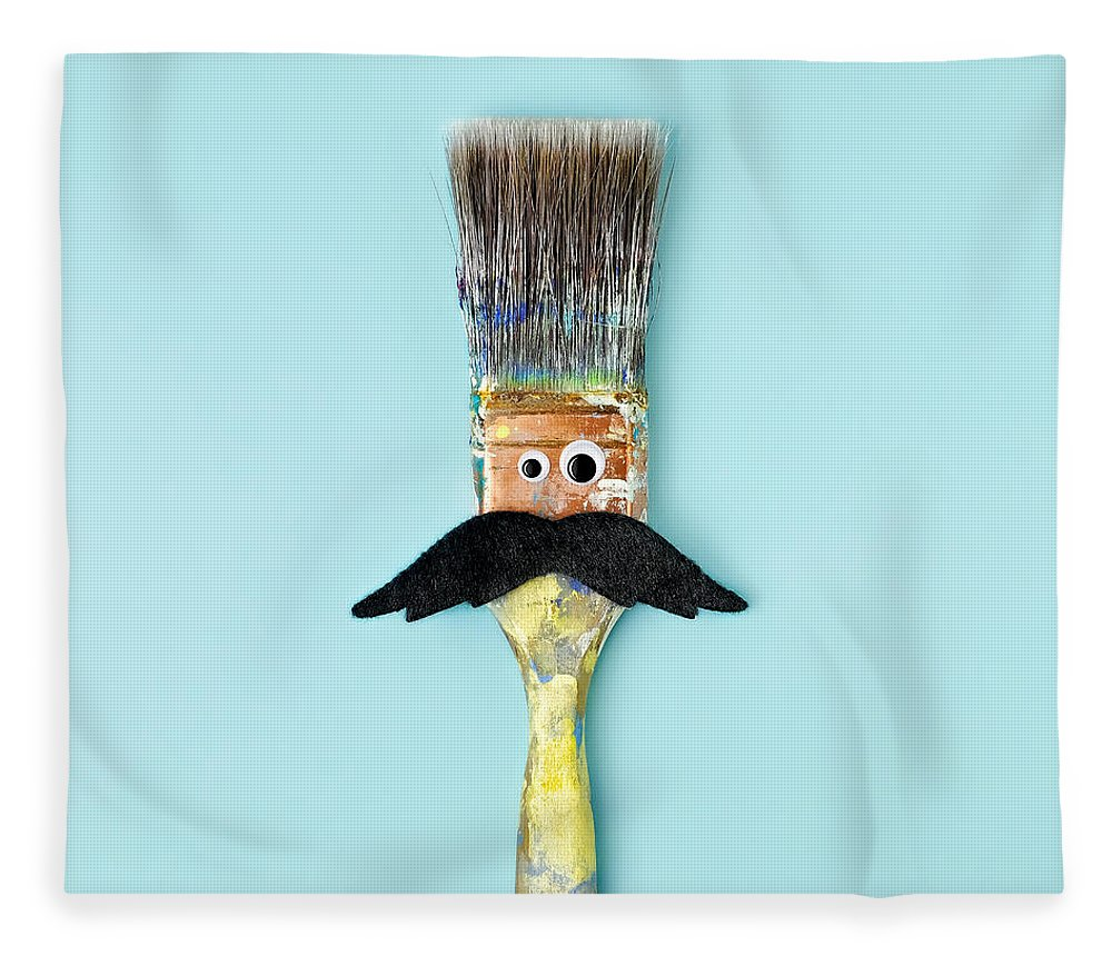 Work Tool Fleece Blanket featuring the photograph Mans Face Crafted Onto Paintbrush by Juj Winn