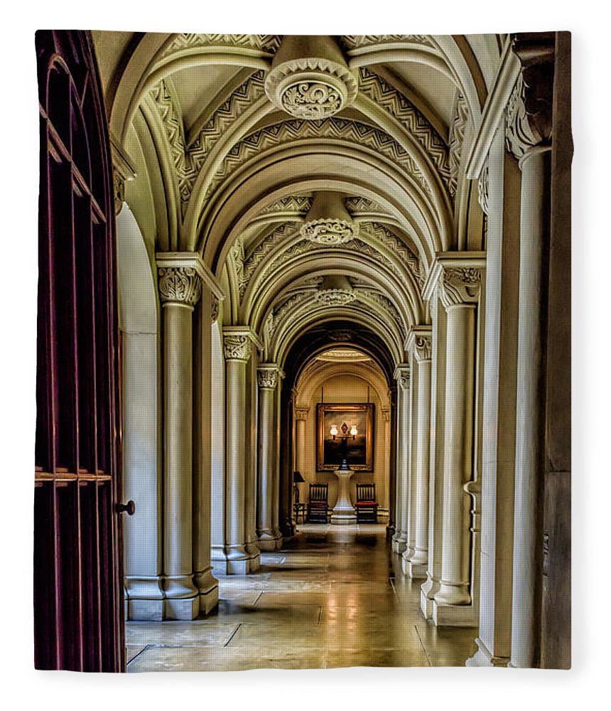 British Fleece Blanket featuring the photograph Mansion Hallway by Adrian Evans