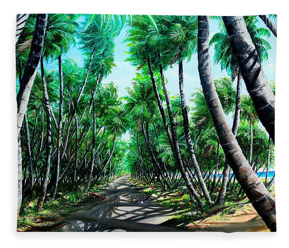 Coconut Trees Fleece Blanket featuring the painting Manzanilla Coconut Estate by Karin Dawn Kelshall- Best