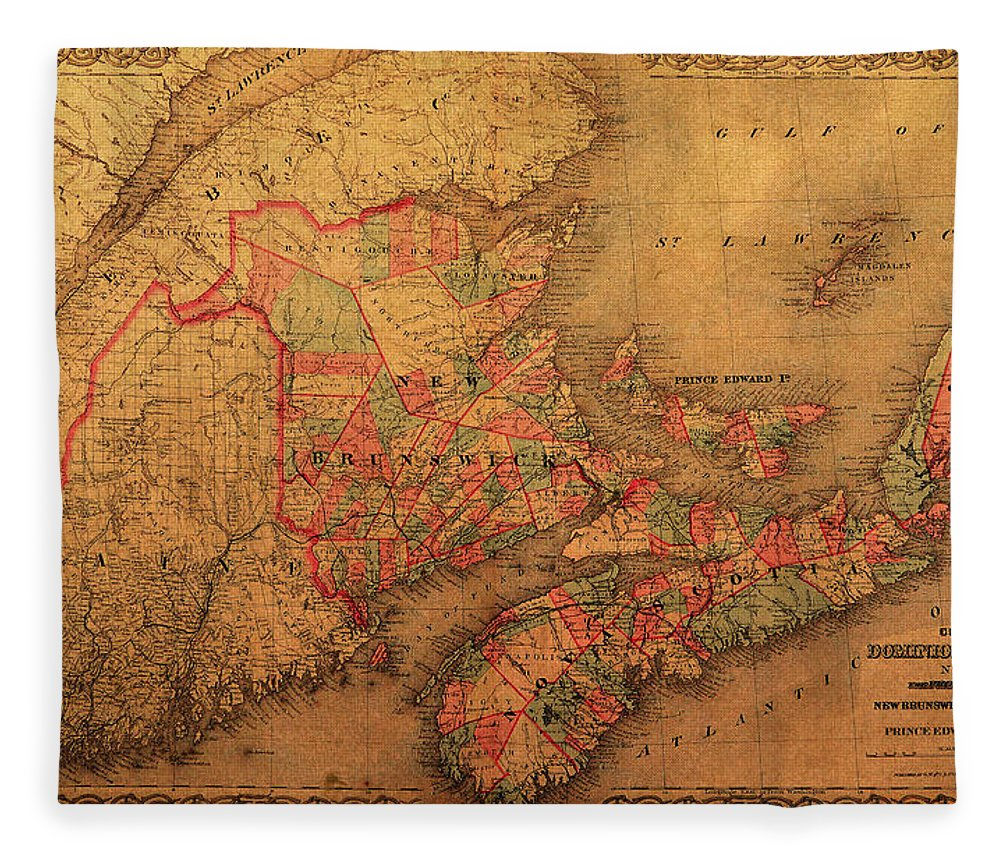Map of eastern canada provinces vintage atlas on worn canvas fleece map fleece blanket featuring the mixed media map of eastern canada provinces vintage atlas on worn gumiabroncs Choice Image