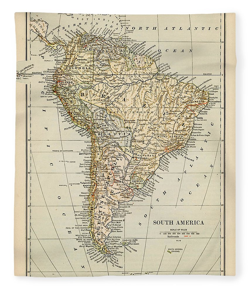 Burnt Fleece Blanket featuring the photograph Map Of South America 1875 by Thepalmer