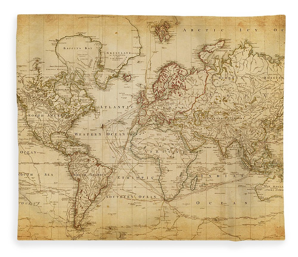 Globe Fleece Blanket featuring the digital art Map Of The World 1800 by Thepalmer