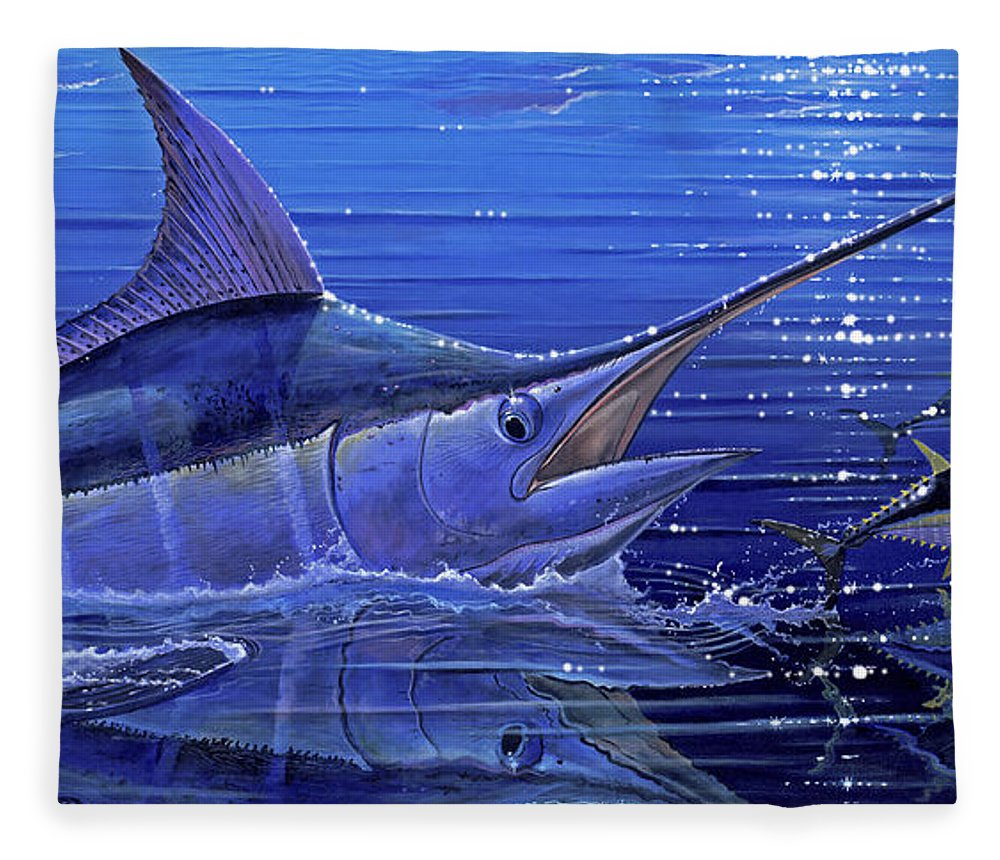 Marlin Fleece Blanket featuring the painting Marlin Mirror Off0022 by Carey Chen
