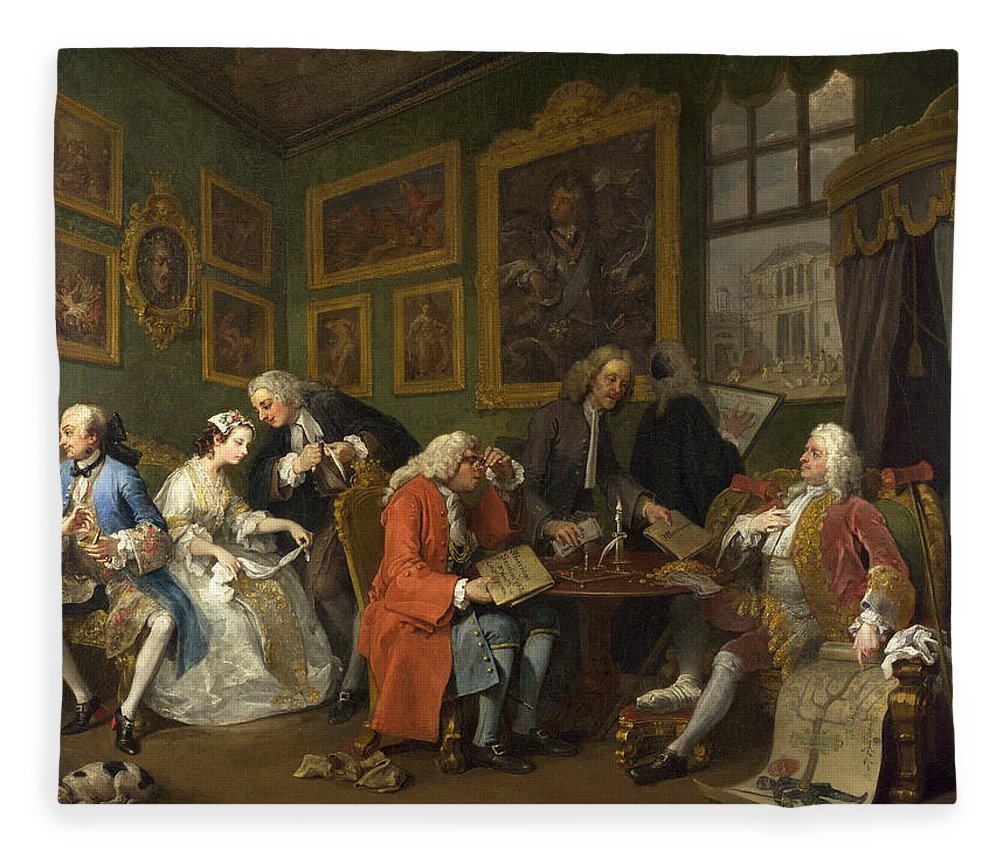 William Hogarth Fleece Blanket featuring the painting Marriage A-la-mode The Marriage Settlement by William Hogarth