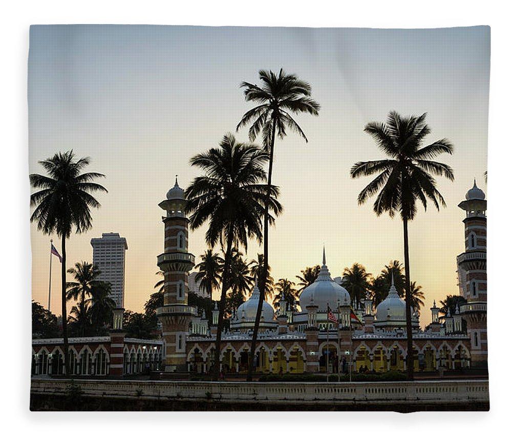 Clear Sky Fleece Blanket featuring the photograph Masjid Jamek - Kuala Lumpur by @ Didier Marti