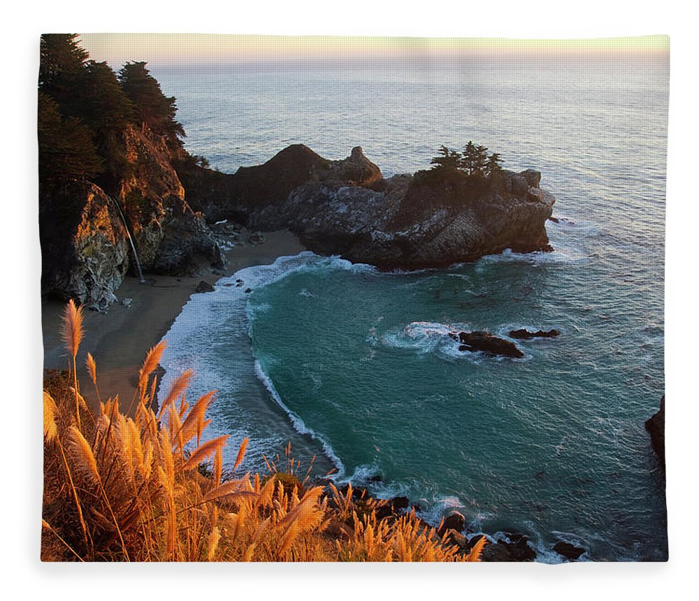 Scenics Fleece Blanket featuring the photograph Mcway Falls At Big Sur, California, Usa by Mark Miller Photos