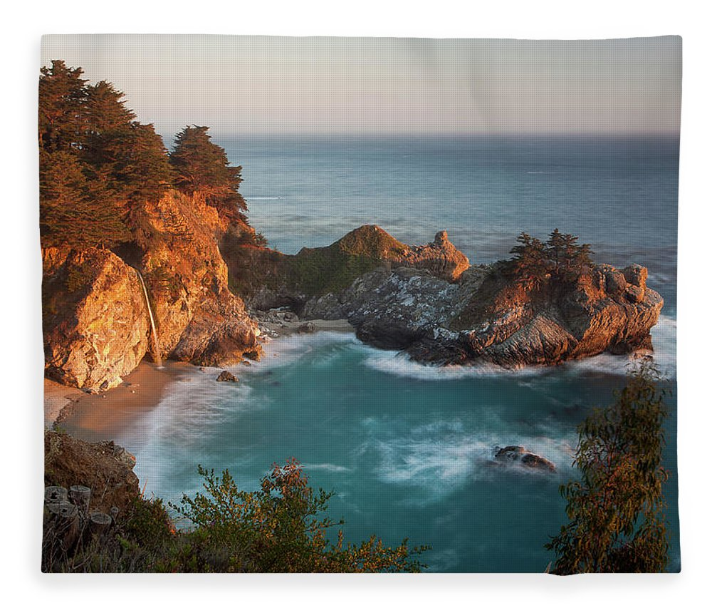 Scenics Fleece Blanket featuring the photograph Mcway Falls At Sunset by Sean Duan