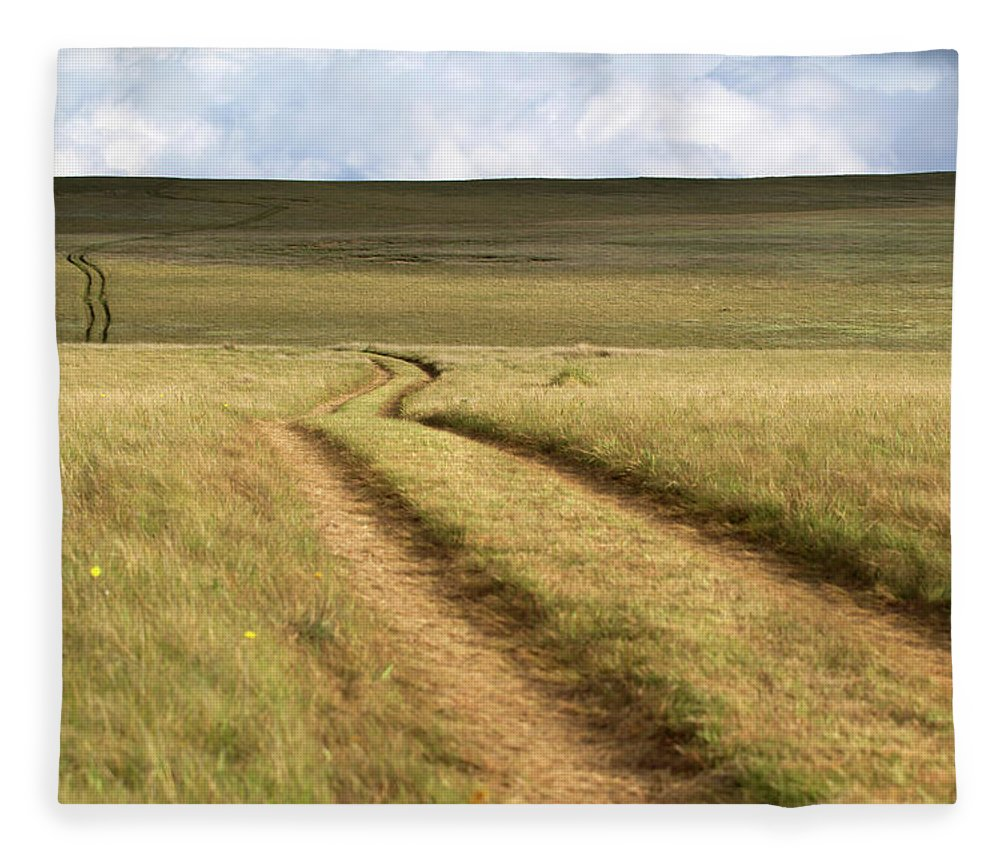 Scenics Fleece Blanket featuring the photograph Meandering Path Through The Hills Of by Morgan Trimble