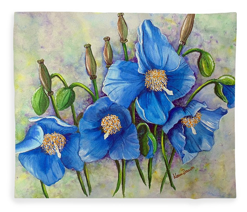 Blue Hymalayan Poppy Fleece Blanket featuring the painting MECONOPSIS  Himalayan Blue Poppy by Karin Dawn Kelshall- Best