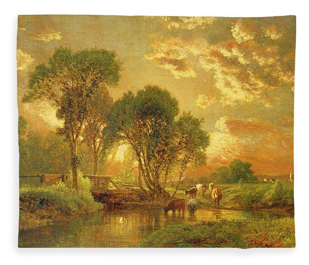 Inness Fleece Blanket featuring the painting Medfield Massachusetts by Inness