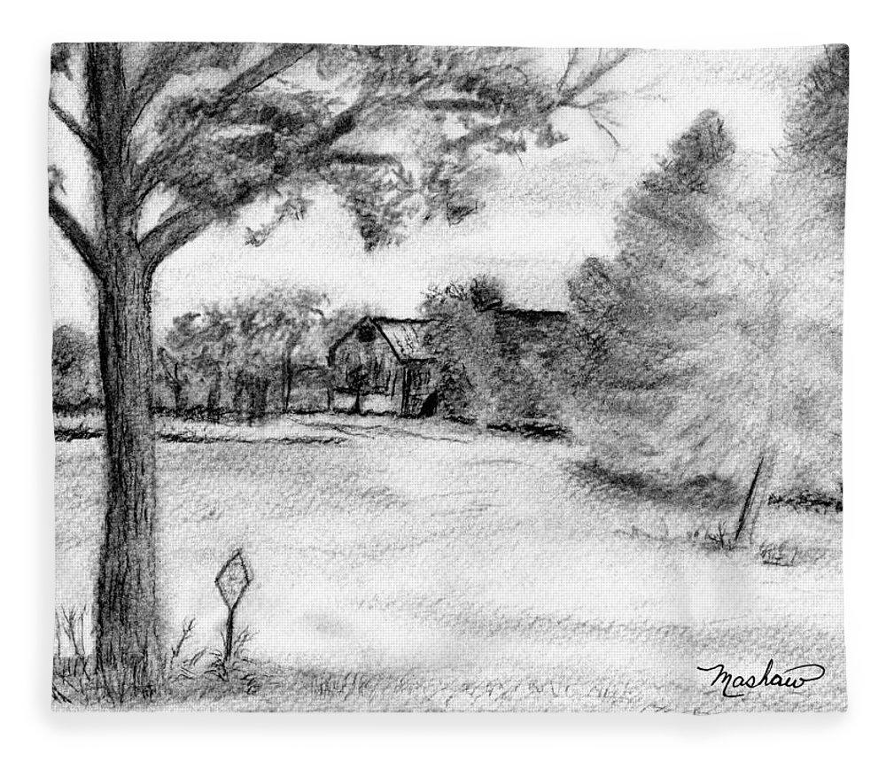 Farm Fleece Blanket featuring the drawing Medford Farm by Sheila Mashaw