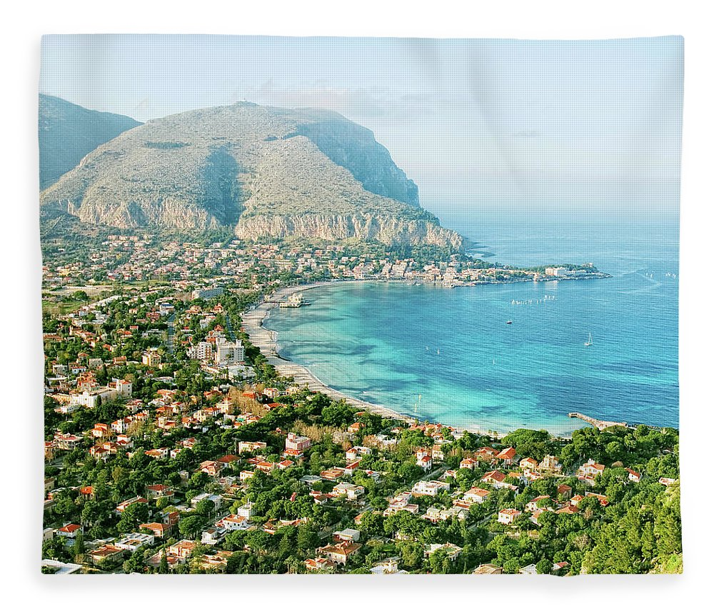 Sicily Fleece Blanket featuring the photograph Mediterranean View by Peeterv