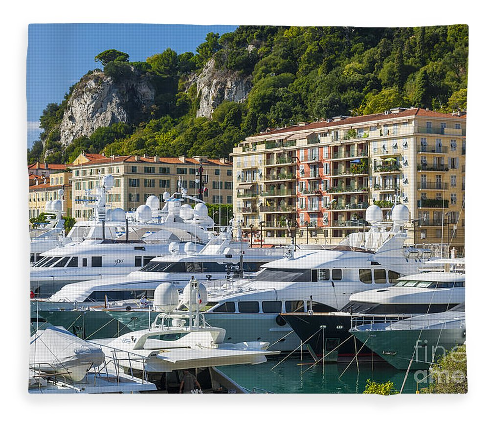 Port Of Nice Fleece Blanket featuring the photograph Mega Yachts In Port Of Nice France by Elena Elisseeva