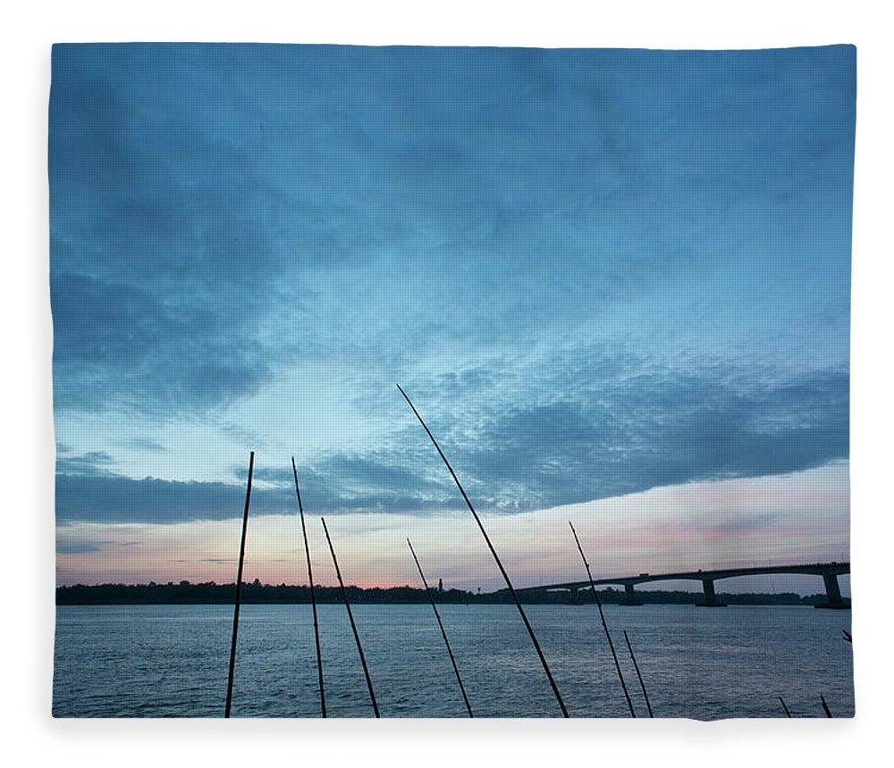 Scenics Fleece Blanket featuring the photograph Mekong River At Dawn With Bridge by Eitan Simanor