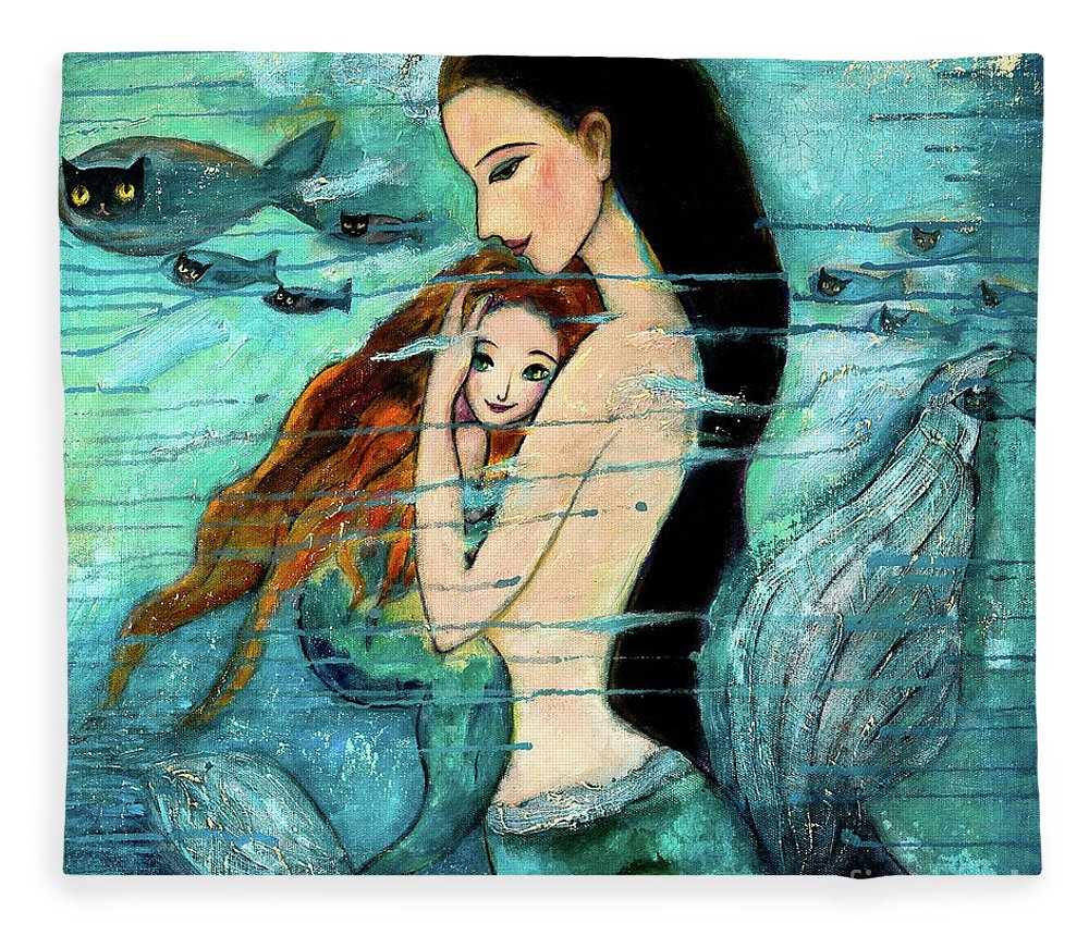 Mermaid Art Fleece Blanket featuring the painting Mermaid Mother And Child by Shijun Munns
