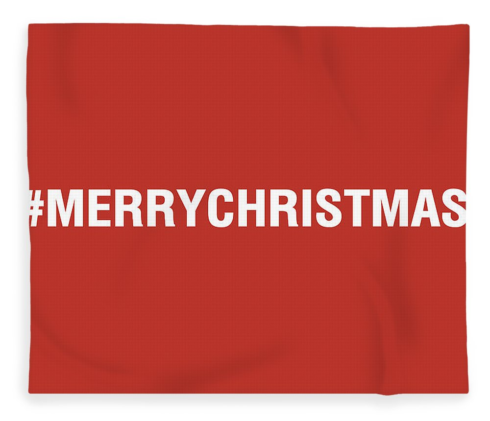 Christmas Fleece Blanket featuring the mixed media Merry Christmas Hashtag by Linda Woods