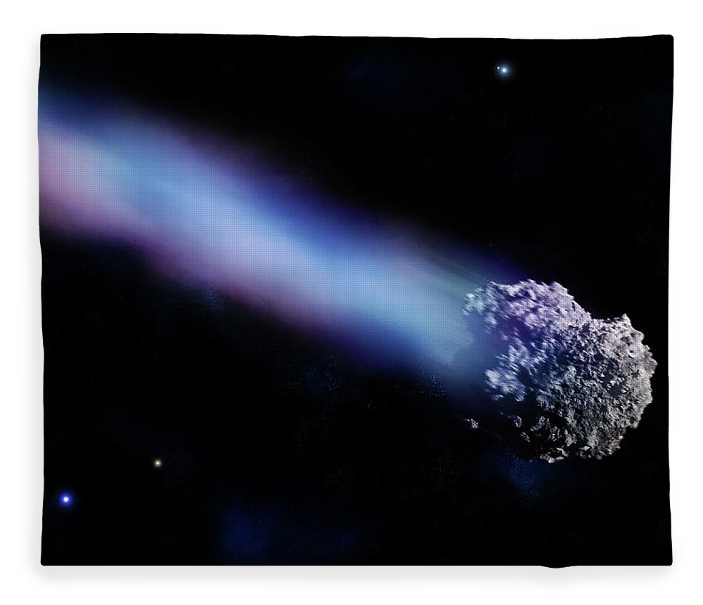 Comet Fleece Blanket featuring the digital art Meteor With Colorful Tail by Maciej Frolow