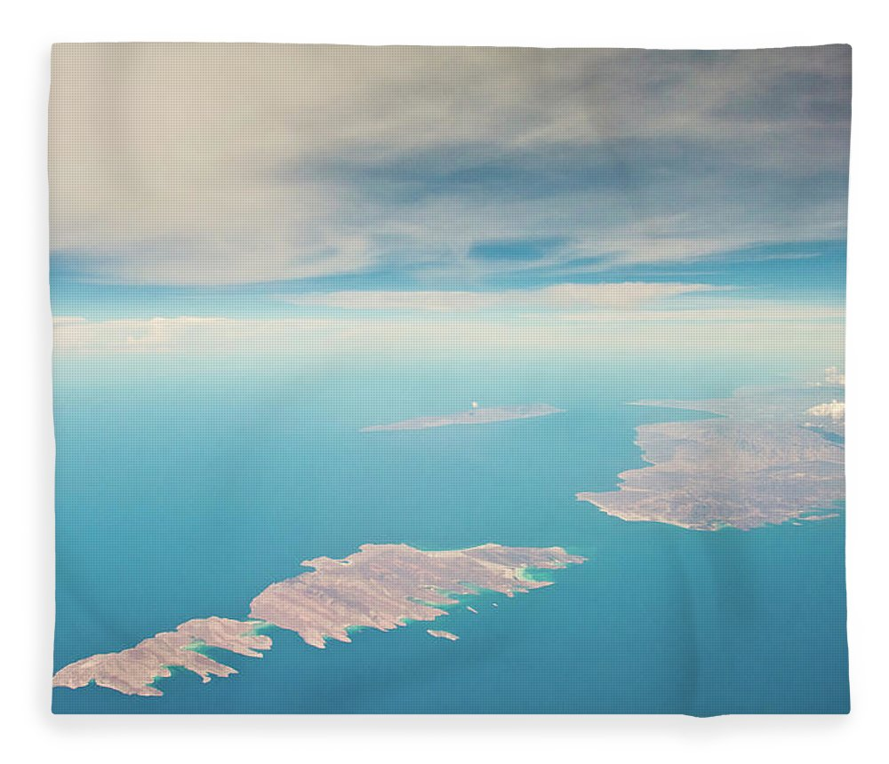 Scenics Fleece Blanket featuring the photograph Mexico Baja From Air by Christopher Kimmel