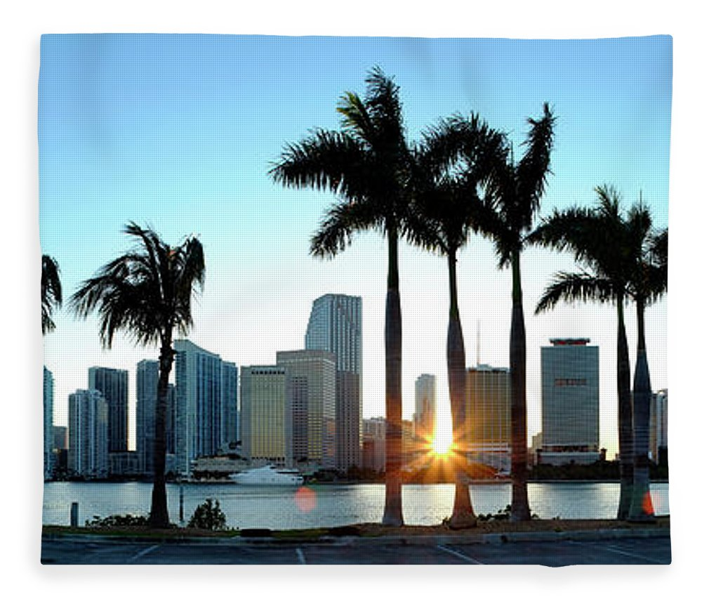Downtown District Fleece Blanket featuring the photograph Miami Skyline Viewed Over Marina by Travelpix Ltd