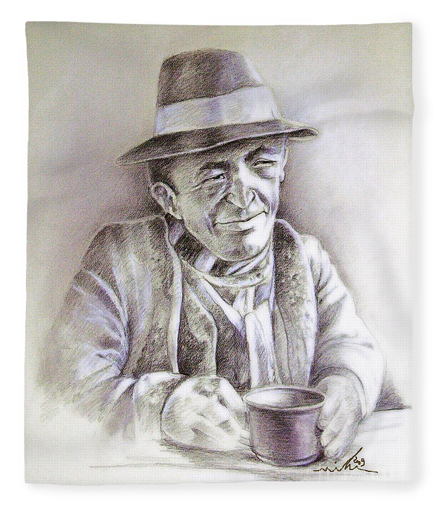 Portrait Michael Anderson Fleece Blanket featuring the painting Michael J Anderson by Miki De Goodaboom