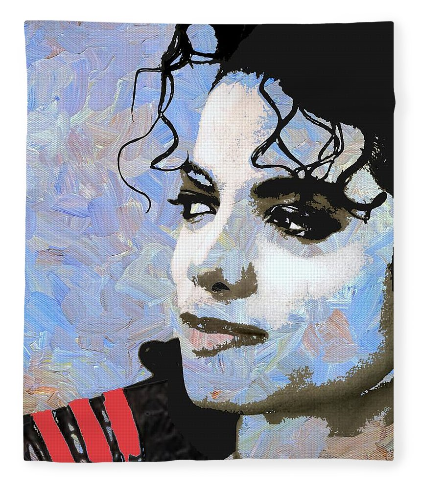 Michael Jackson Fleece Blanket featuring the digital art Michael Jackson Blue And White by Linda Mears