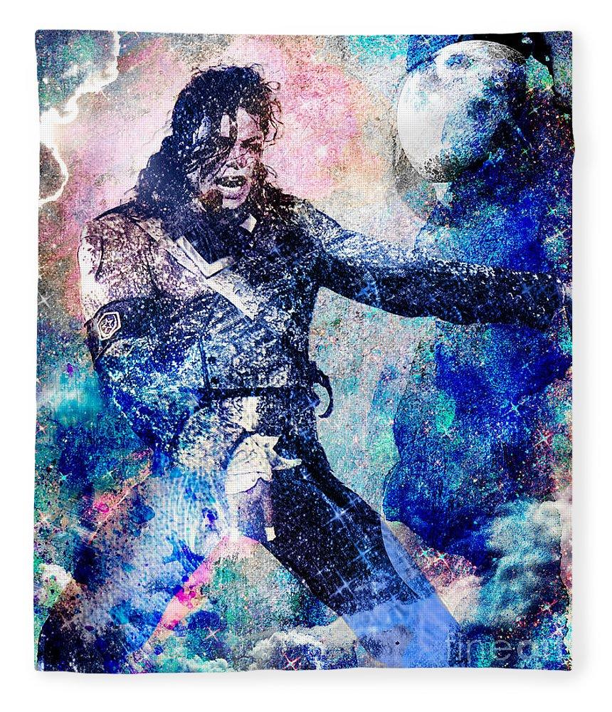 Rock Fleece Blanket featuring the painting Michael Jackson Original Painting by Ryan Rock Artist
